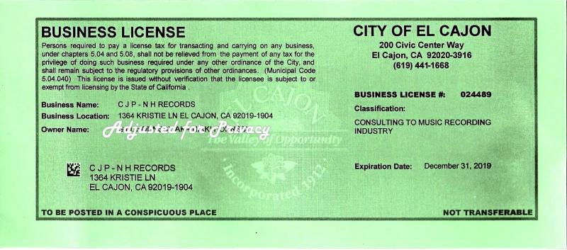 Business License for 2019